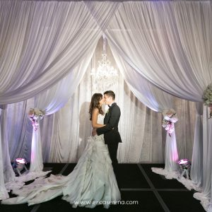 Premium Layered Wedding Backdrop with Chandeliers