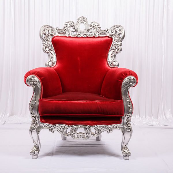 Superbe Red Velvet French Armchair